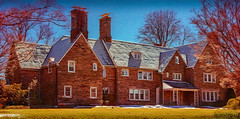 Large House (Pete Douglass) Tags: winter house brick home colonial mansion chimneys