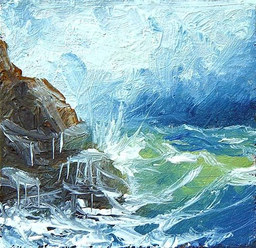 606 - 1x1 MINIATURE ORIGINAL OIL PAINTING SEASCAPE Coastal STORM Waves Surf Rock