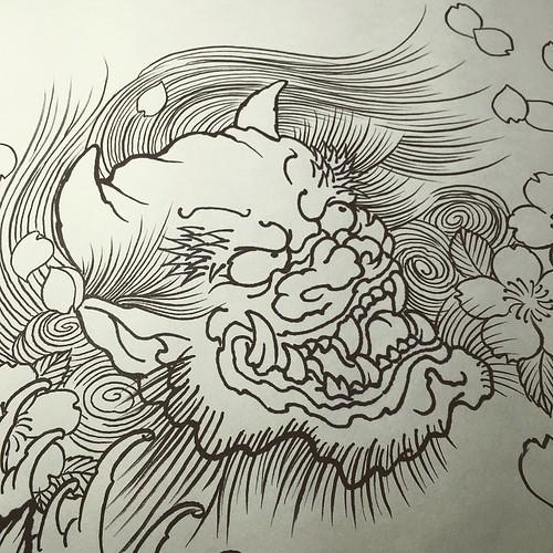 #sketch #Oni #tattoo #design #下絵 #鬼 👹✨ #タトゥー #デザイン #reikotattoo #studiokeen #名古屋 #大須 #矢場町