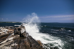 oceanic exclamation (almostsummersky) Tags: ocean sea summer sky sun beach water portland island us rocks waves unitedstates crash horizon maine shoreline rocky spray atlantic shore foam atlanticocean tides whaleback peaksisland