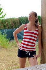 cloudy summer day... (caro line 030) Tags: outdoor wickedweasel ww woman stripes red skirt girl portrait