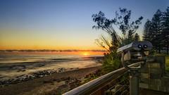 Eyes to the sun (BAN - photography) Tags: ocean park trees sea plants shells seascape sunrise dawn rocks telescope daybreak goldcoast burleighheads d810
