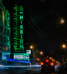 new mission theater (pbo31) Tags: sanfrancisco california nikon d810 july 2016 color summer bayarea boury pbo31 city green neon theater new black missionstreet missiondistrict night dark lightstream motion traffic roadway street breaks movies cinema house film