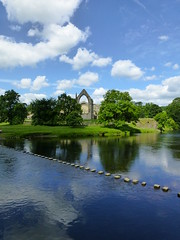 Bolton Abbey (onlysolotoo) Tags: reflection church abbey stones yorkshire ruin stepping