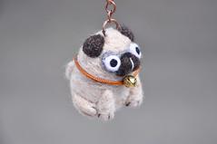 Pug keychain (noristudio3o) Tags: noristudio nori studio pug dog keychain key holder accessoreis doug puppy figurine miniature ring animal needle felted needlefelting felt wool amigurumi