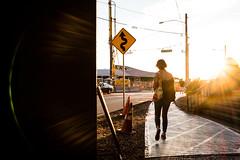 The Fiancee (vaneebs) Tags: seattle street city light sunset sky signs lens washington sidewalk flare