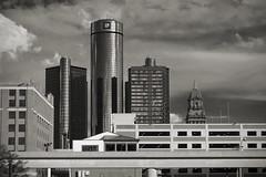 Motown (DJ Wolfman) Tags: summer skyline clouds buildings gm skyscrapers michigan detroit cities cityscapes olympus michiganfavorites zuiko generalmotors motown thed summerinmichigan olympusomd em5ii