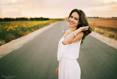 The road to Happiness (D.Vasilev) Tags: road sunset portrait woman white flower art girl beautiful smile field smiling fashion dress outdoor happiness sunflower fields flickfam