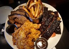 Pit master platter at Carbon Bar (deeeelish) Tags: ribs bbq chicken fries brisket beef friedchicken