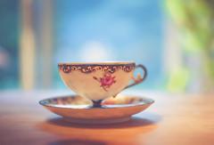 Bokeh Wednesday - New Tea Cup (jm atkinson) Tags: purple tea cup bokeh wednesday stone china hbw