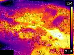 Thermal image of Big Anemone Geyser (morning, 11 June 2016) 3 (James St. John) Tags: big anemone geyser hill group upper basin yellowstone hotspot volcano wyoming hot springs thermal image temperature