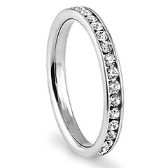 316L Stainless Steel White Cubic Zirconia CZ Eternity Wedding 3MM Band Ring Sz 6 (couponrainbow) Tags: 316l band cubic eternity ring stainless steel wedding white zirconia