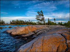 Prevailing Wind (Rodrick Dale) Tags: wind lally island georgian bay ontario canada rock granite sky cloud pine tree lichen