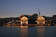 Jones Bay Wharf at Pyrmont Point (astrogirl969) Tags: fujifilmxf1855f284r morning dawn colour contrast water blue orange balmaineast iwps pyrmontpoint goldenhour boat crane wharf jonesbaywharf fujifilm postprocessed nikcolorefex4 1000views xe1