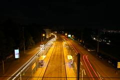 Tram station (Mettwoosch) Tags: cologne kln koeln nacht lichter night lights sky street tram himmel strase strasenbahn cars autos schienen lightpainting lichtmalerei travel outdoor canon eos 5dm3 ef lens langzeitbelichtung longexposure