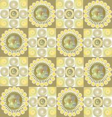 circa 1975 (virtually_supine) Tags: flowers daisies pattern tulips squares digitalart creative retro montage layers digitalmanipulation blending creativeeffects photoshopelements9 inthestyleofthepatternanddecorationartmovement