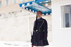 Greece 2015  Part 3: Evzones of Syntagma Square (#melphoto) Tags: downtown kilt rifle athens fez changingoftheguard tassel tomboftheunknownsoldier bayonet pompons hellenic evzones presidentialguard lightinfantry greekarmy traditionaluniform fustanella redleatherclogs