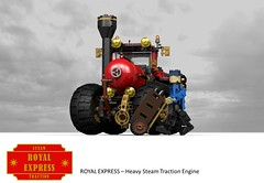 Royal Express - Heavy Steam Traction Engine (lego911) Tags: auto fiction tractor model lego cosplay farm render character traction engine royal science steam vehicle express agriculture coal heavy 86 challenge boiler cad lugnuts povray steampunk moc condenser ldd miniland lego911 steampunkmotorworks