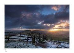 Gate to the Moors (Howard Brown) Tags: winter england snow clouds landscape hope golden landscapes gate derbyshire peakdistrict goldenhour midlands winterscape mamtor winterlandscape castleton hopevalley goldensky