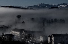 (Kellensbh) Tags: morning trees sky mountains cold fog clouds foggy treesinfog
