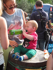 Baby on the Bottle (Owentheoptician) Tags: baby cute london beer shirt canon t bottle toddler sweet south barrel hilton elvis bank prince alcohol heath booze owen carlsberg bushey opticians s95 hummour