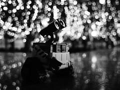 Stargazing (Cris Ward) Tags: street city nightphotography light portrait urban blackandwhite bw blur cute london monochrome thames night contrast river toy toys outdoors mono focus dof riverside bokeh walk character wide sigma wideangle olympus monotone disney depthoffield nighttime pixar wharf figure docklands canary figurine riverbank exploration thamespath omd csc greyscale walle 19mm mirrorless microfourthirds olympusomdem10 sigma19mm28dnart