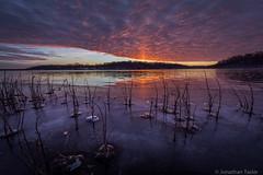 Sunrise on Wyandotte Lake (Jonathan Tasler) Tags: park county lake ice sunrise frozen kansas wyandotte