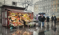 La florista bajo la lluvia (pimontes) Tags: flores lluvia budapest paseo hungria reflejos florista hss paragúas pimontes