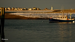 Sunset Ice in the Bay (The Bop) Tags: sunset lighthouse snow cold ice water boats blueskies buoys dockbay