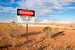 Opal Mining (whitworth images) Tags: industry colors sign danger warning fence mine colours desert stones dry australia mining soil dirt outback dust plains barren southaustralia opal dig arid gem heaps piles keepout cooberpedy mullock