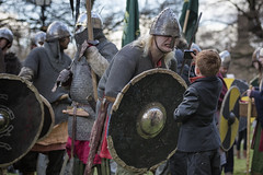 grrrrr (james_drury) Tags: camera york face festival pose fun costume battle grimace viking pulling enactment