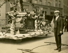 Giant Portable Underwood Typewriter (Detail) (Alan Mays) Tags: old decorations horses streets men portraits vintage buildings ads giant advertising stars keys funny humorous photos antique stripes humor parades patriotic flags ephemera photographs fantasy postcards keyboards oversized advertisements floats exaggerations companies typewriters manufacturers foundphotos underwood rppc talltales paradefloats realphotopostcards underwoodtypewritercompany