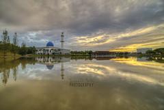 Soul Searching | UNITEN Mosque (Mohamad Zaidi Photography) Tags: lake reflection yellow sunrise minaret sony earlymorning malaysia dome hdr kajang uniten a7s unitenmosque samyang14mm viltrox mohamadzaidiphotography sonya7s