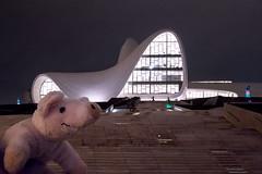 Travel Piggy - Azerbaijan, Baku (sadaiche (Peter Franc)) Tags: travel architecture landscape toy piggy pig center baku azerbaijan plush zaha hadid heydar aliyev