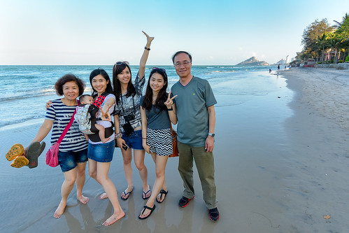 Family at South Hua Hin Beach