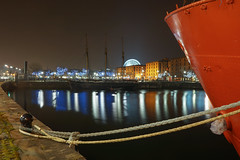 Planet Liverpool, tall ship and big wheel (Capt'n Red Beard) Tags: longexposure reflection water wheel night liverpool dark boat dock ship waterfront albert mersey merseyside liverpoolsonya7iiwaterfontnighteveningmarch2015