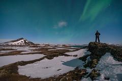 'Moonlighting In Iceland' - Myvatn, Iceland (Kristofer Williams) Tags: winter portrait sky snow night stars iceland nightscape crater figure moonlight myvatn pseudocrater heleniles