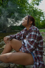 'Dragon' (miranda.valenti12) Tags: trees portrait tree leaves clouds forest felicia outside outdoors weed woods rocks sitting dragon wind cloudy expression smoke windy ground smoking plaid facial fee