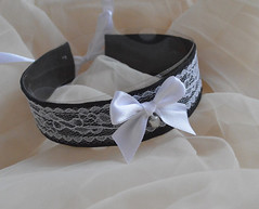 Lovely maid - choker (ceressiass) Tags: pet white black cute french necklace costume kitten play bell cosplay handmade lace lolita tiny bow accessories etsy collar satin maid choker nekollars