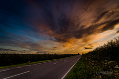 Towards the dramatic sunset... (tbnate) Tags: tbnate hdr yorkshire eastridingofyorkshire vanishing point vanishingpoint sky clouds dramatic road nikond750 nikon d750 dusk goldenhour landscape nature outdoor outside