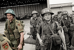 UN Force in the Congo (JohnOByrne.) Tags: ireland bw irish colour green history soldier army airport uniform december peace united helmet workinprogress pride un restored congo peacekeeping coloured shamrock photorestoration troops defence nations fn forces 1961 onu partial overseas keeping armoured colourised webbing elizabethville contingent heireann oglaigh leopoldville onuc defenceforcesireland defencefocesireland