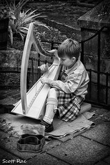 Week 28 - Tiny (Scotty Rae) Tags: street boy summer bw music monochrome ir scotland blackwhite candid scottish tiny instrument infrared harp northberwick busking eastlothian clarsach