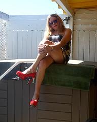 6-21-16 (28) (Spanky de Bautumn) Tags: tv cd lingerie tranny blonde bimbo trap ts bathingsuit tg shemale femboi ladyboysissy
