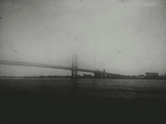 BFB (columnsovsleep) Tags: bridge columnsovsleep dark mobilephotography iphone iphoneography bnw philadelphia shotoniphone iphone6 blackandwhite mextures fog newjersey