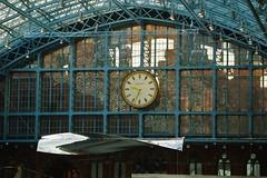 St. Pancras Terrace Art Installation (35mmMan) Tags: stpancras station terminus london railway victorian architecture samsungkzoom android cameraphone blue brick thoughtoftrainofthought art ronarad st pancras