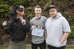 October 7th 2016 - Project 366 (Richard Amor Allan) Tags: trio three filmmakers camera cameraman cameraoperator zacutorig zacuto canon filming outside smile smiles clapperboard crew filmcrew project366