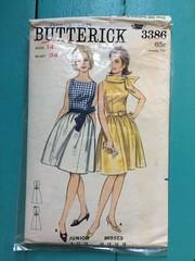 Butterick 3386 (kittee) Tags: kittee vintagesewing vintagepattern butterick butterick3386 3386 size14 bust34 dress nodate 1960s 1950s dirndl sleeveless fittedbodice collar gatheredskirt