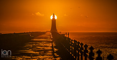 No Bulb Required (ianbrodie1) Tags: pier lighthouse sun sunrise tynemouth railings bulb bright coast coastline tyneside nikon d750 70200 golden