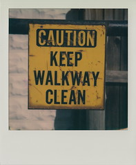 Walkway (DavidVonk) Tags: vintage instant film analog polaroid sx70 sonar sign rusty caution