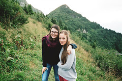 (Kathleen Vtr) Tags: friendship friends portrait smile happiness hiking day hike wanderung explore swiss mountains alps switzerland naturelovers wild outdoor life livefolk home 35mm analog film photography canonae1